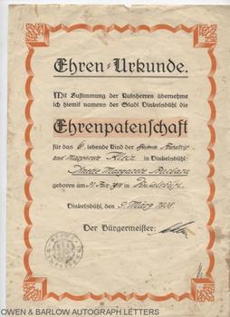 ADOLF HITLER (1889-1945) Autograph Signature on Godfather Certificate