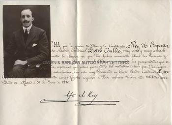 ALFONSO XIII (1886-1941) Letter Signed