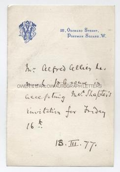 ALFRED CELLIER (1844-1891) Autograph Letter