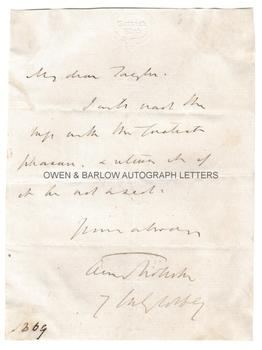 ANTHONY TROLLOPE (1815-1882) Autograph Letter Signed