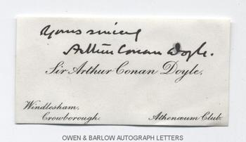 ARTHUR CONAN DOYLE (1859-1930) Autograph Signature on Card