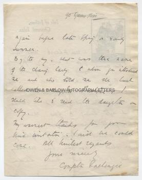 COMPTON MACKENZIE (1883-1972) Autograph Letter Signed