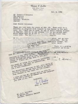 ROBERT STROUD 'THE BIRDMAN OF ALCATRAZ' (1890-1963) Autograph Letter Signed