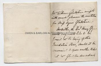 CATHERINE GLADSTONE (1812-1900) Autograph Letter