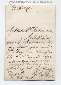 CHARLES BABBAGE (1791-1871) Autograph Letter Signed