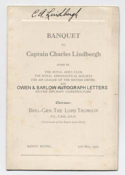 CHARLES LINDBERGH (1902-1974) Autograph on Menu