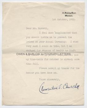 CLEMENTINE CHURCHILL (1885-1977) Typed Letter Signed