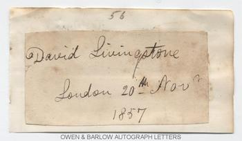 DAVID LIVINGSTONE (1813-1873) Autograph Signature