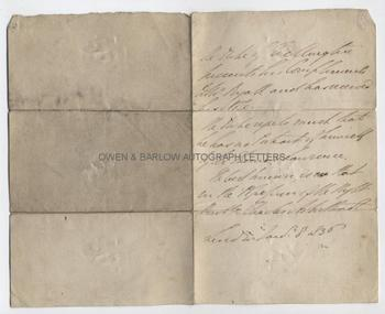 DUKE OF WELLINGTON (1769-1852) Autograph Letter