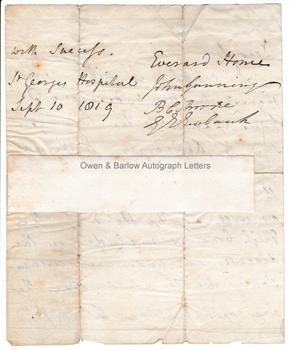 EVERARD HOME (1756-1832) Autograph Letter Signed