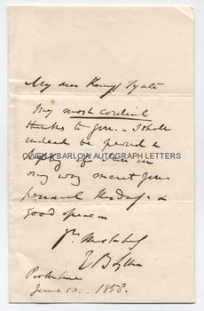 EDWARD BULWER-LYTTON (1803-1873) Autograph Letter Signed