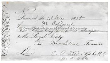 EDWARD SABINE (1788-1883) Royal Society Subscription Receipt Signed