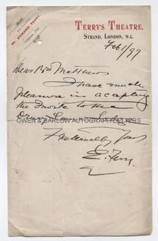 EDWARD TERRY (1844-1912) Autograph Letter Signed