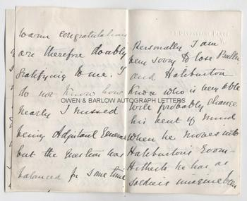 EVELYN WOOD V.C. (1838-1919) Autograph Letter Signed