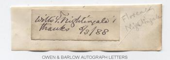 FLORENCE NIGHTINGALE (1820-1910) Autograph Note