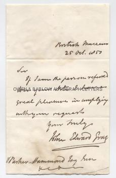JOHN EDWARD GRAY (1800-1875) Autograph Letter Signed