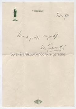 JOHN GALSWORTHY (1867-1933) Autograph Note Signed