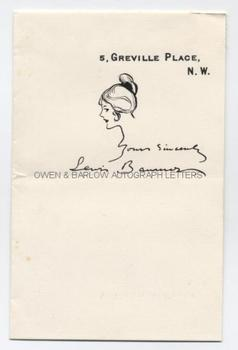 LEWIS BAUMER (1870-1963) Autograph Signature with drawing