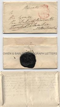 LORD LIVERPOOL (1770-1828) Autograph Letter Cover Signed