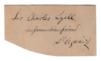 LOUIS AGASSIZ (1807-1873) Autograph Presentation Inscription to Sir Charles Lyell