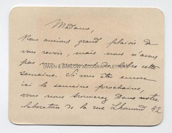 MARIE CURIE (1867-1934) Autograph Letter Signed