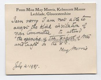 MAY MORRIS (1862-1938) Autograph Letter Signed