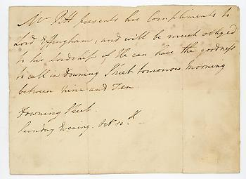 WILLIAM PITT (1759-1806) Autograph Letter