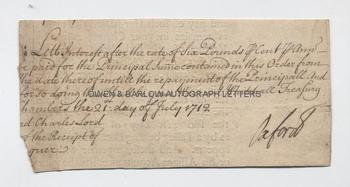 ROBERT HARLEY (1661-1724) Autograph Signature on Treasury Document