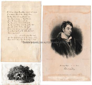 ROBERT SOUTHEY (1774-1843) Autograph Manuscript Together with his Thomas Bewick Bookplate