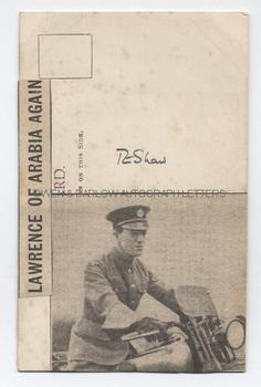 T. E. LAWRENCE (1888-1935) Newsprint Portrait Signed