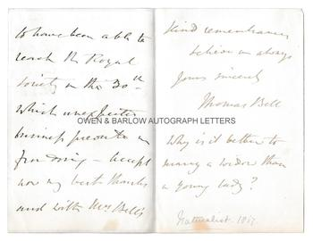 THOMAS BELL (1792-1880) Autograph Letter Signed