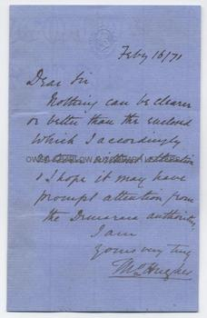 THOMAS HUGHES (1822-1896) Autograph Letter Signed