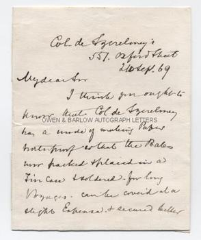 THOMAS PAGE (1803-1877) Autograph Letter Signed