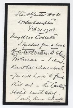 WILLIAM HUNTER KENDAL (1843-1917) Autograph Letter Signed