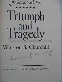 WINSTON S. CHURCHILL (1874-1965) Book: Triumph and Tragedy Signed