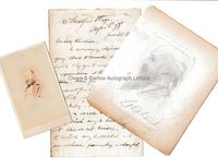 EDWAR LEAR (1812-1888) Autograph Letter Signed with Drawing by Lear and Portrait Photograph