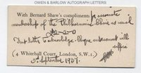 GEORGE BERNARD SHAW (1856-1950) Autograph Note Signed