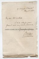 OWEN JONES (1809-1874) Autograph Letter Signed
